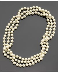 Lauren by Ralph Lauren Long Glass Pearl Necklace - Lyst