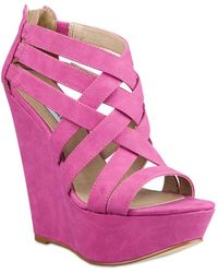 Steve Madden Xcess Platform Wedge Sandals - Lyst