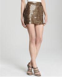 BCBGMAXAZRIA Skirt Elka Mink Sequins gold - Lyst