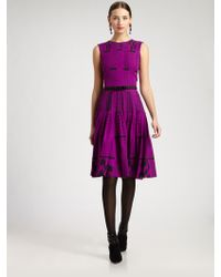 Oscar de la Renta Printed Silk Dress purple - Lyst