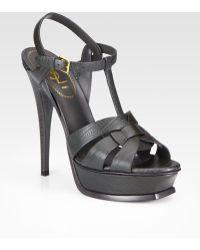 Saint Laurent Tstrap Lizardembossed Leather Sandals - Lyst