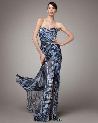 Monique Lhuillier Printed Silk Gown - Lyst