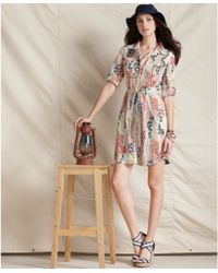 Tommy Hilfiger Three Quarter Sleeve Button Down Floral Print Cotton Shirtdress - Lyst