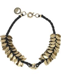 Giles & Brother - Leather Accented Wheat Petal Necklace - Lyst