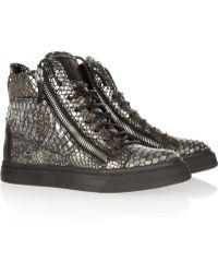 Giuseppe Zanotti Python print Leather Hightop Sneakers - Lyst