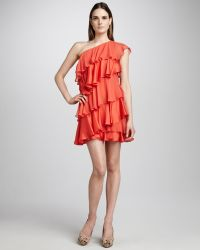 Halston Heritage Tiered Ruffle Dress Tangelo - Lyst