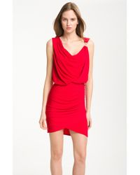 Laundry by Shelli Segal Asymmetrical Cowl Neck Jersey Dress - Lyst