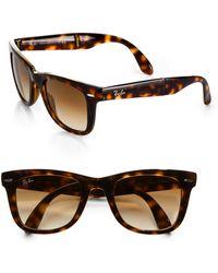 Ray-Ban Folding Square Wayfarer Sunglasses brown - Lyst
