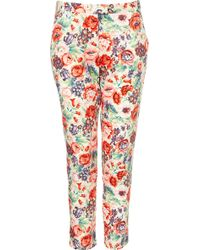 Topshop Coord Rose Print Cigarette Trousers - Lyst