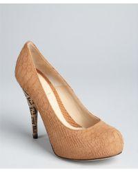 Fendi Brown Snake Embossed Leather Logo Heel Pumps - Lyst