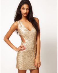 TFNC Tfnc Sequin Dress with Cut Outs - Lyst
