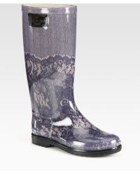 Valentino Lace-Printed Rubber Rain Boots - Lyst