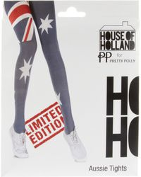 House of Holland - House Of Holland For Pretty Polly Australia Flag Tights - Lyst