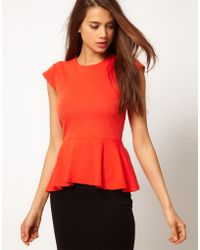 ASOS Collection Asos Top with Peplum in Ponti - Lyst