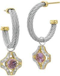 Charriol - Amethyst and Diamond Cross Hoop Earrings - Lyst