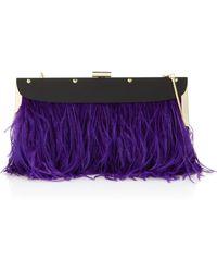 BCBGMAXAZRIA Ostrich Feather Clutch Purple - Lyst