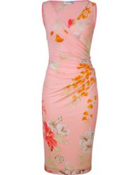 Leonard - Tropical Peach Floral Print Dress - Lyst