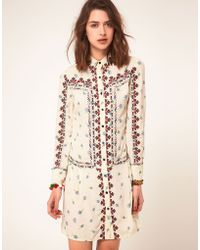 ASOS Collection Asos Floral Embroidered Shirt Dress - Lyst