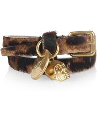 Alexander McQueen Leopard Print Calf Hair Wrap Bracelet - Lyst