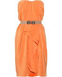 BCBGMAXAZRIA Belted Silkcharmeuse Dress orange - Lyst