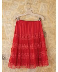 Free People Vintage Red Mesh and Lace Slip Skirt - Lyst