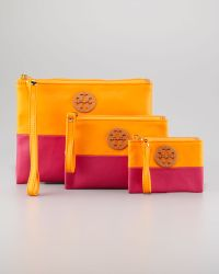 Tory Burch Flat Zip Twotone Pouches Set Of Three - Lyst