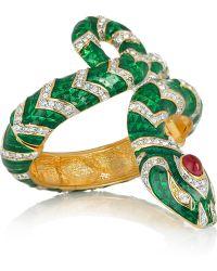 Kenneth Jay Lane 22karat Gold-Plated Crystal Snake Bracelet - Lyst