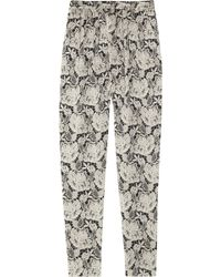 Stella McCartney Laceprint Silksatin Tapered Pants floral - Lyst