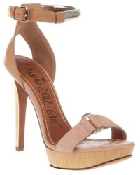 Lanvin Metallic Strap Sandals - Lyst
