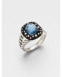David Yurman Diamond Accented Blue Topaz Ring - Lyst