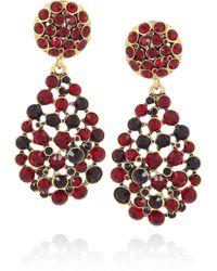 Oscar de la Renta 24karat Goldplated Crystal Clip Earrings - Lyst