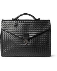 Bottega Veneta Intrecciato Leather Briefcase black - Lyst