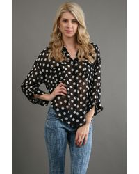 Free People Button Down Polka Dot in Black - Lyst