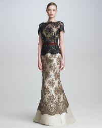 Carolina Herrera Colorblock Lace Gown - Lyst