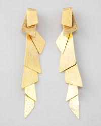 Herve Van Der Straeten - Gold Foldover Clip Earrings - Lyst