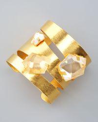 Herve Van Der Straeten - Rock Crystal Gold Cuff - Lyst