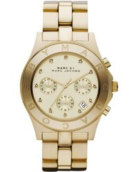 Marc By Marc Jacobs Women'S Chronograph Blade Gold-Tone Stainless Steel Bracelet Mbm3101 - Lyst