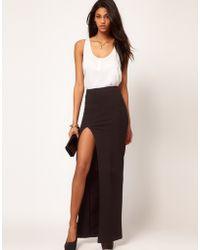 Asos Maxi Skirt With Split black - Lyst