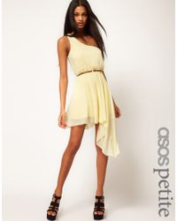 ASOS Collection Asos Petite Exclusive One Shoulder Asymmetric Dress With Belt yellow - Lyst