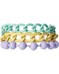 Asos Asos Pastel Coated Mixed Chain Bracelet - Lyst