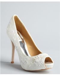 Badgley Mischka White Satin Lace Stella Sequin Embellished Open Toe Pumps - Lyst