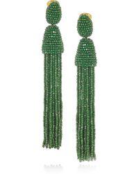 Oscar de la Renta Beaded Tassel Clip Earrings green - Lyst