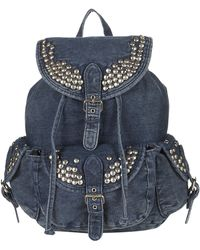 Topshop Studded Denim Backpack - Lyst
