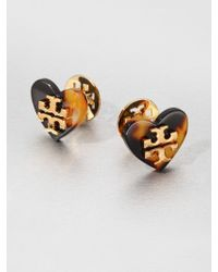 Tory Burch Heart Stud Earrings - Lyst