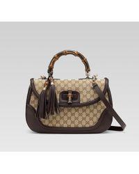 Gucci   New Bamboo Original Gg Canvas Top Handle Bag   Lyst