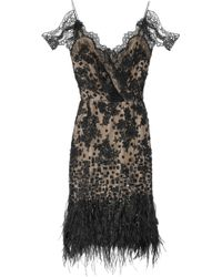 Oscar de la Renta Feather and Sequinembellished Lace Dress - Lyst