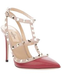 Valentino Rockstud Sling Back T100 in Red red - Lyst
