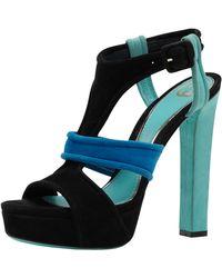 Gucci Andie Multicolor Suede Platform Sandal Jadeblueblack - Lyst