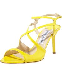Jimmy Choo Paxton Strappy Patent Sandal - Lyst
