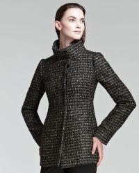 Armani Funnelcollar Tweed Coat - Lyst